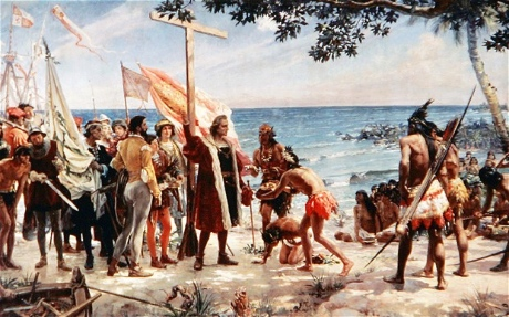 Columbus arriving in Caribbean