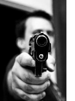 Gun pointed at you