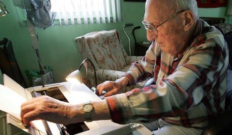 Harry Bernstein at typewriter