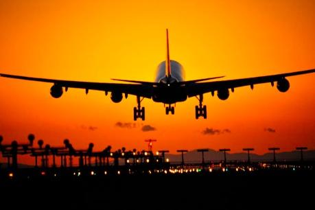 Passenger plane landing