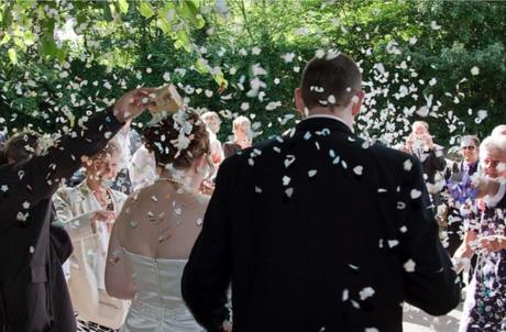 Bride and groom leaving